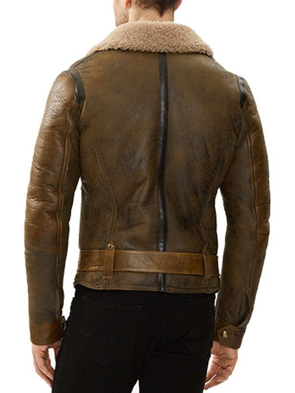 MENS B3 AVIATOR REAL SHEARLING BROWN SHEEPSKIN LEATHER FLIGHT BOMBER JACKETB
