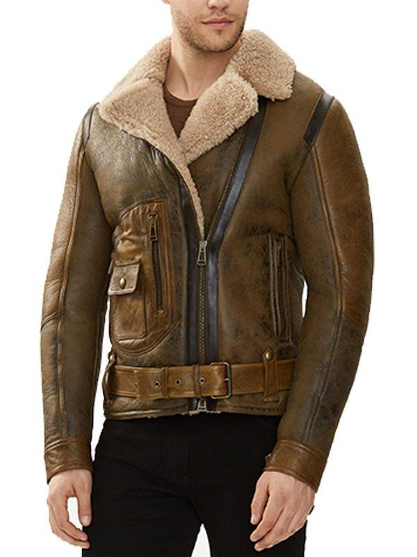 MENS B3 AVIATOR REAL SHEARLING BROWN SHEEPSKIN LEATHER FLIGHT BOMBER JACKET