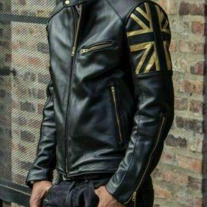 Men Biker Vintage Motorcycle Cafe Racer Black Real Leather Jacket with UK FlagS