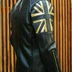 Men Biker Vintage Motorcycle Cafe Racer Black Real Leather Jacket with UK FlagS1