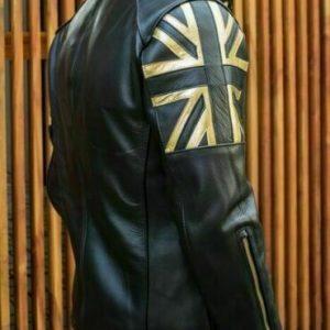 Men Biker Vintage Motorcycle Cafe Racer Black Real Leather Jacket with UK FlagS1
