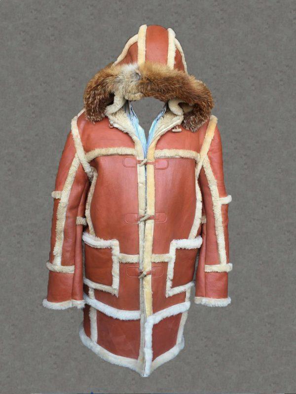 Mens B3 Bomber Aviator WWII Pilot Police Retro Sheepskin Tan Leather Duffle Coat