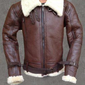 Women B3 Bomber Aviator Flying Black fur Sheepskin Shearling Leather Jacket
