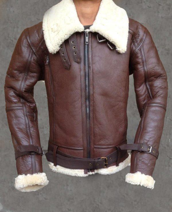 Women B3 Bomber Aviator Flying Black fur Sheepskin Shearling Leather Jacket
