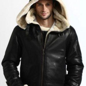 Men B3 Bomber Full Fur Removable Hood Genuine SheepSkin Shearling Stylish Black Leather Jacket