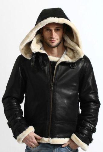 Men B3 Bomber Full Fur Removable Hood Genuine SheepSkin Shearling Stylish Black Leather Jacket