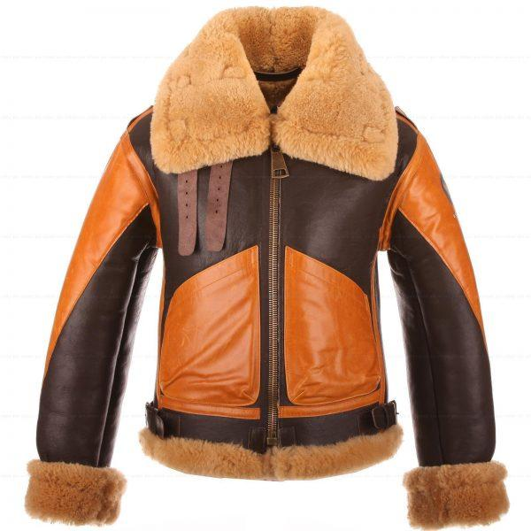 RAF Men's B3 Brown Sheepskin Bomber Shearling Two Tone Style Real Leather Jacket