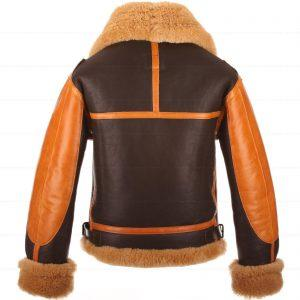 RAF Men's B3 Brown Sheepskin Bomber Shearling Two Tone Style Real Leather JacketB