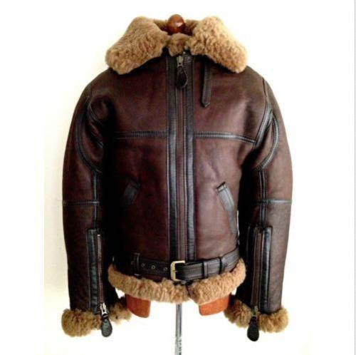 MEN'S AVIATOR RAF B3 REDDISH SHADED SHEEPSKIN FUR LEATHER BOMBER FLYING JACKET