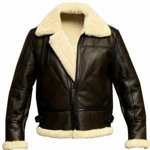 Mens Aviator Brown Bomber Real Shearling Sheepskin Leather Bomber Flight Jacket