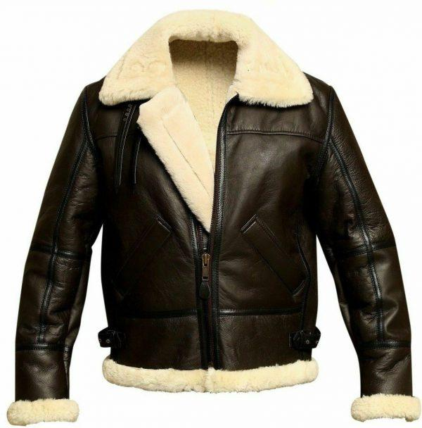 Mens Aviator Brown Bomber Real Shearling Sheepskin Leather Bomber Flight Jacket