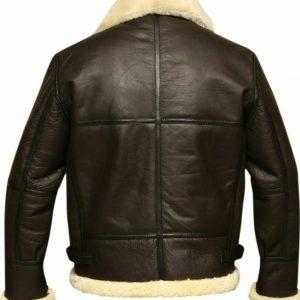 Mens Aviator Brown Bomber Real Shearling Sheepskin Leather Bomber Flight JacketB