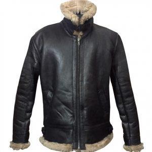 Mens Winter Aviator RAF B3 Shearling Real Sheepskin Leather Bomber Flying Jacket