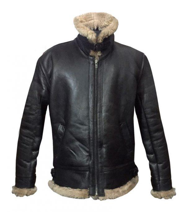 Mens Winter Aviator RAF B3 Shearling Real Sheepskin Leather Bomber Flying Jacket
