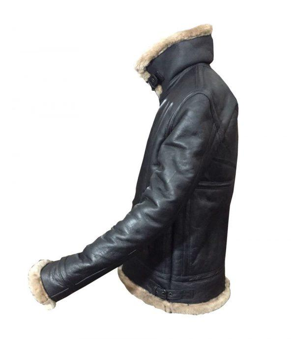 Mens Winter Aviator RAF B3 Shearling Real Sheepskin Leather Bomber Flying JacketS