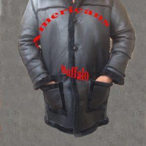 Men B3 Bomber Aviator WWII Pilot Police Sheepskin Black Leather Jacket Coat