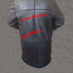 Men B3 Bomber Aviator WWII Pilot Police Sheepskin Black Leather Jacket CoatB