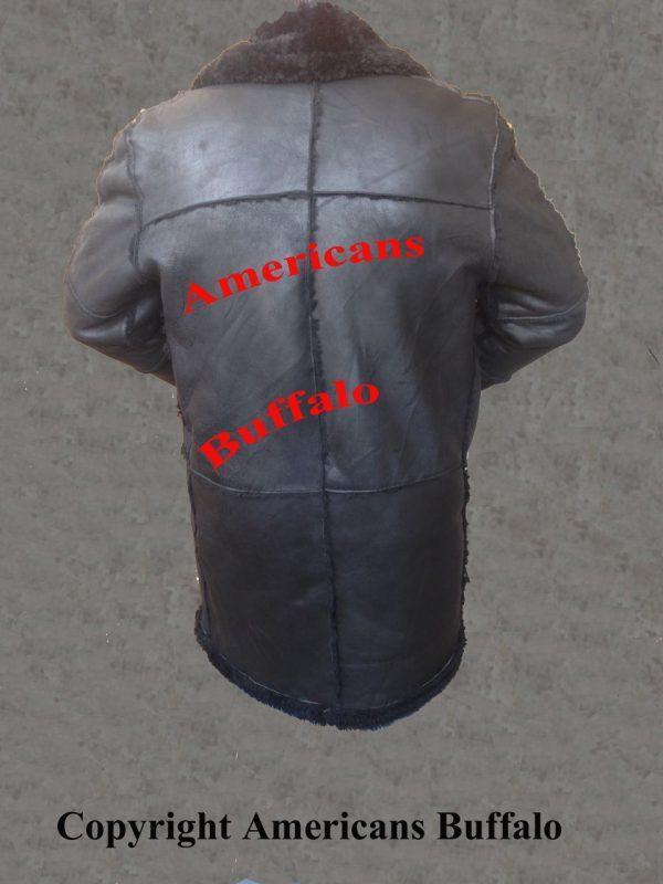 Men B3 Bomber Aviator WWII Pilot Police Sheepskin Black Leather Jacket CoatB