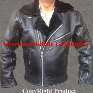 Men's Aviator Winter B6 Sheepskin Fur Shearling Bomber Black Leather Jacket