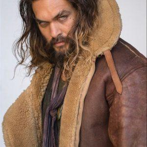 Aquaman Arthur Curry Justice League Bomber Aviator Real Shearling Leather Jacket