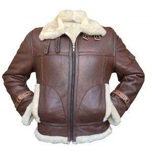 MEN AVIATOR RAF B3 REDDISH REAL SHEEPSKIN FUR LEATHER BOMBER FLYING JACKET
