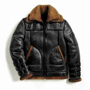 Men Winter Aviator RAF B3 Shearling Real Sheepskin Leather Bomber Flying Jacket