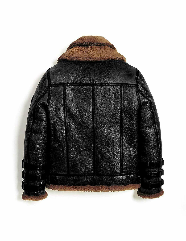 Men/'s Leather Jacket RAF Flight Aviator Real Sheepskin Fur Shearling B3 Bomber