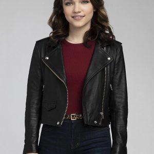 God Friended Me Violett Beane Cafe Racer Biker Black Leather Jacket