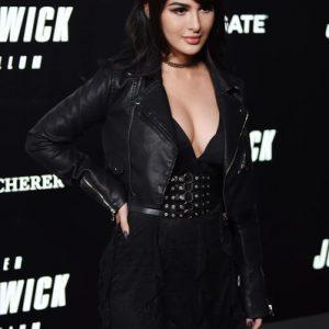 Alia Shelesh SSSniper Wolf John Wick 3 Biker Motorcycle Black Leather Jacket
