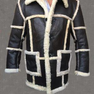 Men Bomber Malbro WWII Pilot B6 Shearling Sheepskin Black Leather Jacket Coat