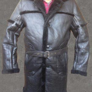 MENS B3 BOMBER AVIATOR WWII PILOT POLICE RETRO SHEEPSKIN BLACK LEATHER DUFFLE SAFARI COAT