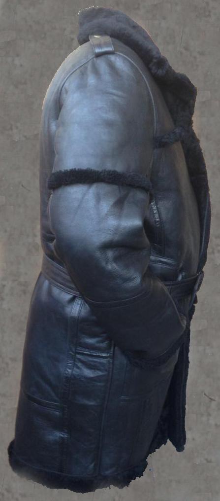 MENS B3 BOMBER AVIATOR WWII PILOT POLICE RETRO SHEEPSKIN BLACK LEATHER DUFFLE SAFARI COATS