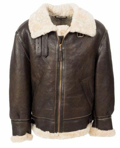 Men B3 Aviator Real Shearling WWII Brown Sheepskin Leather Flight Bomber Jacket
