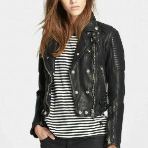 Women Genuine Lambskin Leather Jacket Motorcycle Real Slimfit Black Biker Jacket