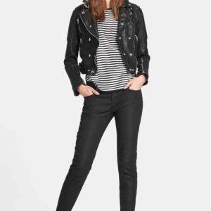 Women Genuine Lambskin Leather Jacket Motorcycle Real Slimfit Black Biker Jacket1
