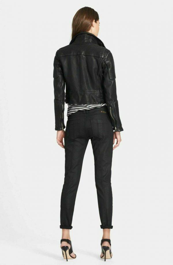 Women Genuine Lambskin Leather Jacket Motorcycle Real Slimfit Black Biker JacketB