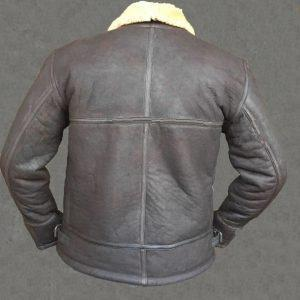 ginger2Mens Aviator RAF B3 Pilot Shearling Real Sheepskin Leather Bomber Flying JacketB