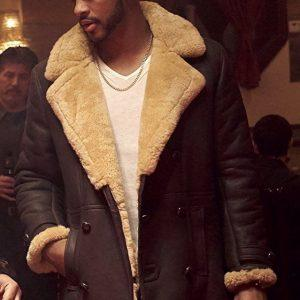 Men Superfly Trevor Jackson Pilot B-3 Real Sheepskin Shearling Duffle Brown Coat