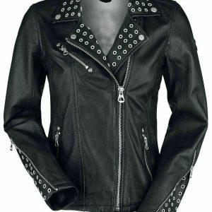 Ladies Biker Studded Cafe Racer Slimfit Casual Street Style Black Leather Jacket