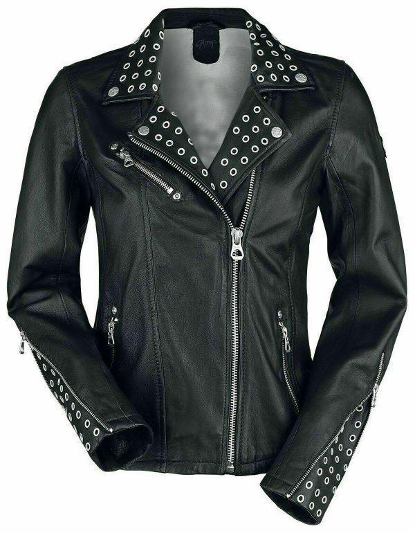 Ladies Biker Studded Cafe Racer Slimfit Casual Street Style Black Leather Jacket
