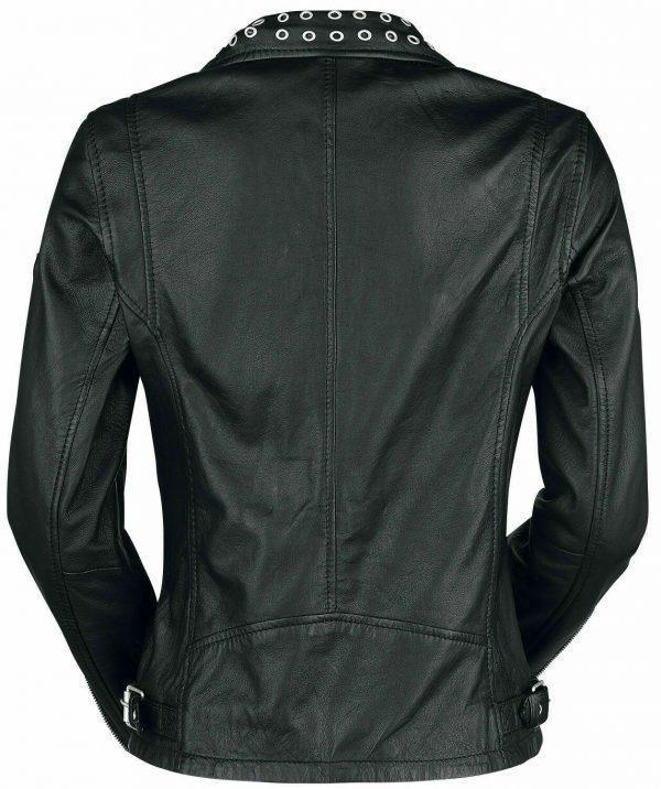 Ladies Biker Studded Cafe Racer Slimfit Casual Street Style Black Leather JacketB
