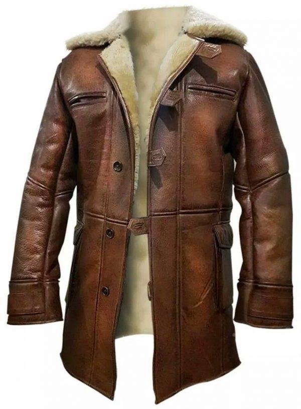 Dark Knight Rises Bane Real Shearling Real Leather Trench Coat Jacket