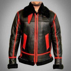 Men RAF Aviator Bomber Real Shearling Real Sheepskin Black Leather Jacket