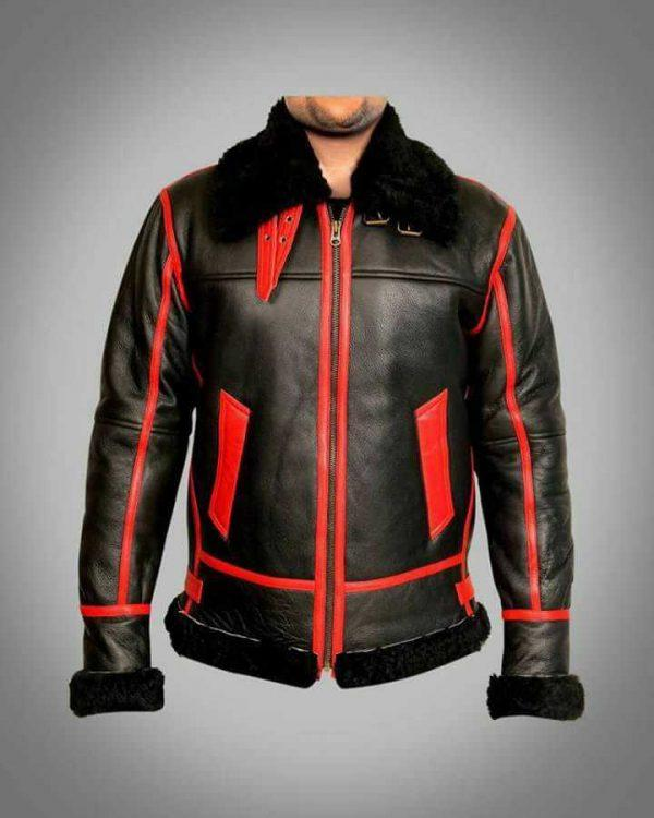 Men RAF Aviator Bomber Real Shearling Real Sheepskin Black Leather Jacket