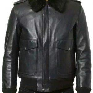 Mens B3 Bomber Aviator A2 Pilot Police Sheepskin Fur Collar Black Leather Jacket
