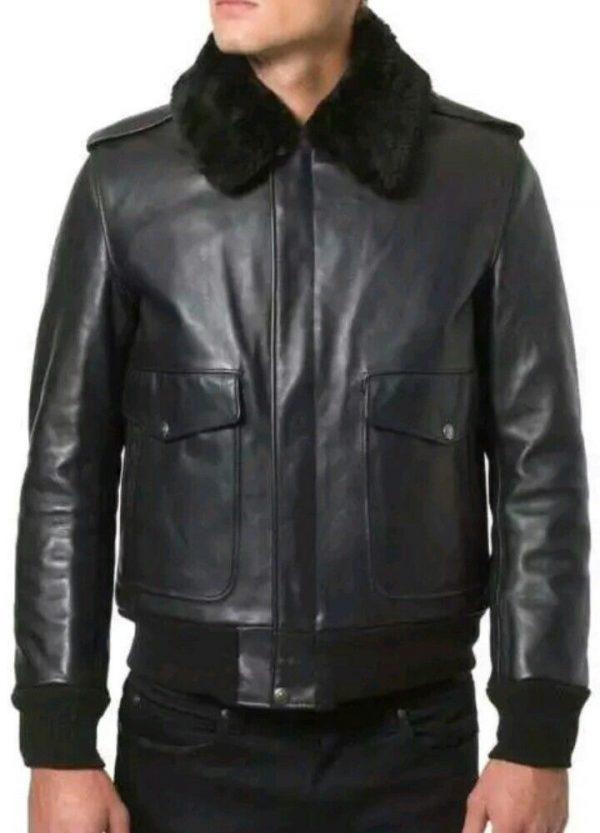 Mens B3 Bomber Aviator A2 Pilot Police Sheepskin Fur Collar Black Leather Jacket