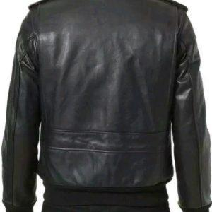 Mens B3 Bomber Aviator A2 Pilot Police Sheepskin Fur Collar Black Leather JacketB