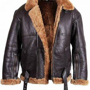 Mens B6 Bomber Aviator Pilot Real Sheepskin Shearling Brown leather Jacket