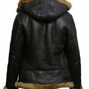 WOMENS BOMBER B3 AVIATOR FLYING BROWN FUR SHEEPSKIN SHEARLING LEATHER JACKETB