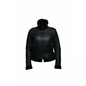 WOMENS B3 BOMBER AVIATOR FLYING BLACK FUR SHEEPSKIN SHEARLING LEATHER JACKET